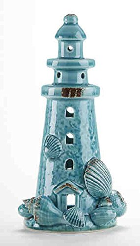 Delton Products 4.5 inches x 8.7 inches Blue Porcelain Lighthouse Tealight Home Decor