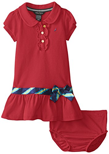 Nautica Bab Baby Girls' Newborn Shawl Collar Pique Dress,Dark Red,18 Months (Dresses For Women Nautica)