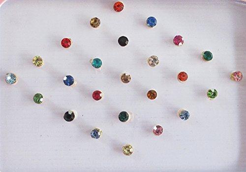 25 Colorful 2mm Crystals Eye Bindi Sticker Pack/ Bindis/ Self Adhesive/ Fake Nose Stud/ Stick On Studs