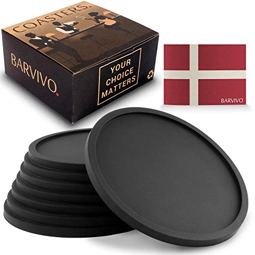 (Barvivo Drink Coasters Set of 8 - Tabletop Protection for Any Table Type, Wood, Granite, Glass, Soapstone, Sandstone, Marble, Stone Tables - Perfect Soft Coaster Fits Any Size of Drinking Glasses.)