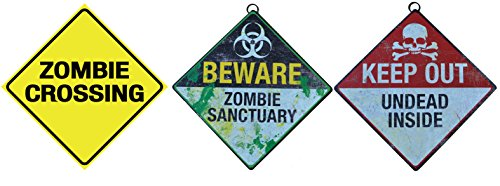 Sunstar Industries Zombie Warning Signs Set of 3-8.5 x 8.5 inch