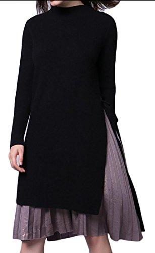 amp;S Sleeve Sweater Fashion Black Side amp;W Long Women's fork M Pullovers dwxfqBnd