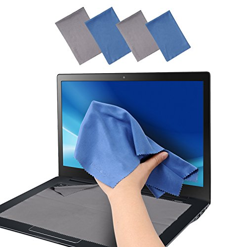 Large 4-Pack Microfiber Cleaning Cloth For Camera, Lens, Eyeglass, Glass, Phone, iPhone, iPad, Tablet, Laptop, LCD TV, Computer Screen and other Delicate Surface(12x8-1/4+13-1/2x8-5/8 Blue and Grey)
