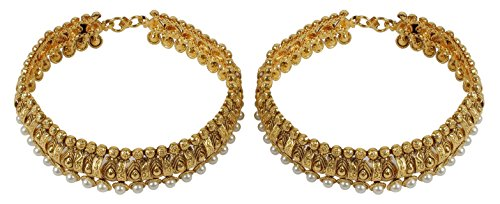 MUCHMORE Women's Glamorous Gold Plated Polki Payal Indian Anklet Partywear Jewelry by Muchmore