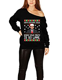 Teepinch Happy Birthday Jesus Sorry Your Party is So Lame Ugly Christmas Slouchy Sweater Office Michael Scott Shirt ILA-51