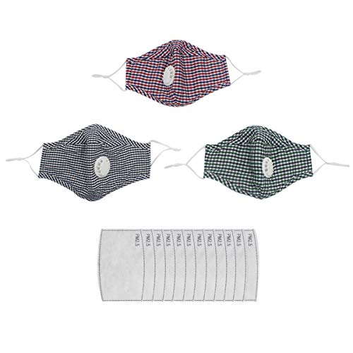- Unisex Tartan Cotton PM 2.5 Masks Aniti Dust Pollution Winter Ski Face Mouth 4-Layer Masks with Valve Fliter (3 x Masks+ 12 x Replaceable Fliters)