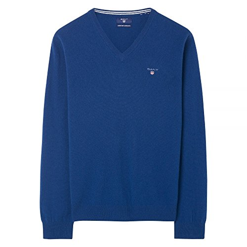 GANT Super Fine Lambswool V-Neck Mens Jumper Yale Blue XXL by GANT (Image #4)