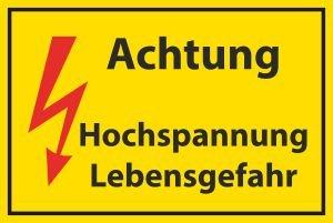 Arbeitsschutz Schild -513- Hochspannung 29,5cm * 20cm * 2mm, ohne Befestigung Kunststoff-Technik Schwab KG