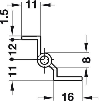 Gedotec Zimmert/ür-Scharnier einbauen T/ürband Ersatzteil M/öbel-Scharnier Montage Kr/öpfung D 7,5 mm H1919 Stahl vernickelt matt zum Schrauben 1 St/ück L/änge 50 mm links