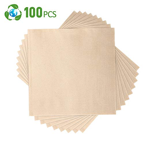 Compostable Napkins,Biodegradable Napkin,Eco Napkins 15.5 x15.5 Inch Disposable Napkin 100 Pcs