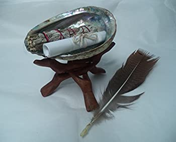 Sage Smudge Kit with White Sage Stick Shell Stand Feather and Directions