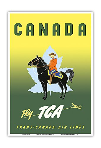 Canada - Fly TCA (Trans-Canada Air Lines) - Royal Canadian Mounted Police on Horseback - Vintage Airline Travel Poster by Jacques Le Flaguais c.1953 - Master Art Print - 13in x 19in (Airlines Tca Canada Trans)