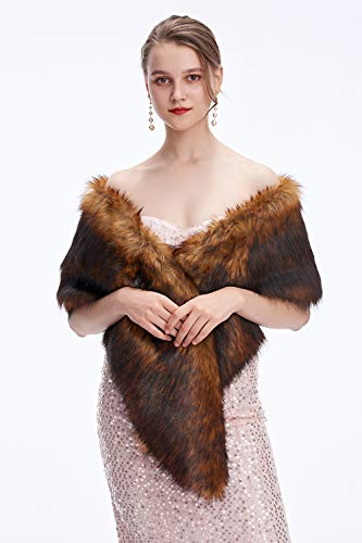 Decahome Wedding Faux Fur Wraps and Shawls Wedding Bridal Stole for Brides and Bridesmaids Brown Fox - Coat Fox Fur Brown