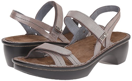 Womens Naot Sandals Brussels Threads Leather Silver drqAwYr