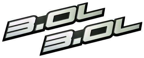 2 x (Pair / Set) 3.0L Liter Embossed SILVER on Black Highly Polished Silver Real Aluminum Auto Emblem Badge Nameplate for Cadillac CTS Chevrolet Equinox Dodge Stealth Ford Escape Fusion Ranger Probe GMC Terrain Jeep Grand Cherokee Subaru Legacy Outback Toyota Camry Avalon 4Runner T100 Volkswagen Touareg