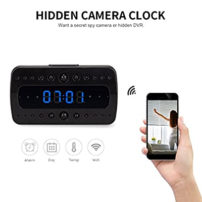 FREDI HD 1080P Wifi Hidden Camera Alarm Clock Night Vision/Motion Delection/Display Temperature Home Surveillance Cameras by Jinbaixun Technology