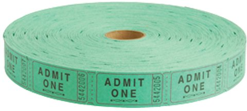 US Toy -Admit One Carnival Tickets Green, 2 in. Long, 2,000 tickets on roll -