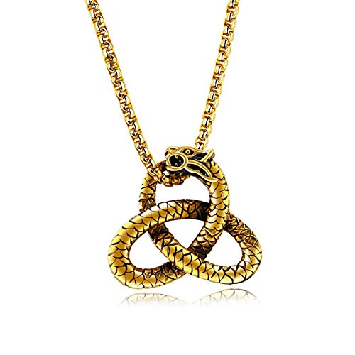 Tornado Stainless Steel Celtic Snake Pendant Necklace Viper Cobra Python Serpent Knot Pagan Pewter Pendant Amulet w Necklace Gifts for Friend