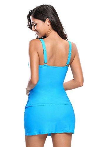 New blu solido increspato 2PCS Tankini con gonna set bikini Swimsuit Swimwear estivo taglia UK 18EU 46