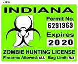 Indiana IN Zombie Hunting License Permit Green - Biohazard Response Team - Window Bumper Locker Sticker