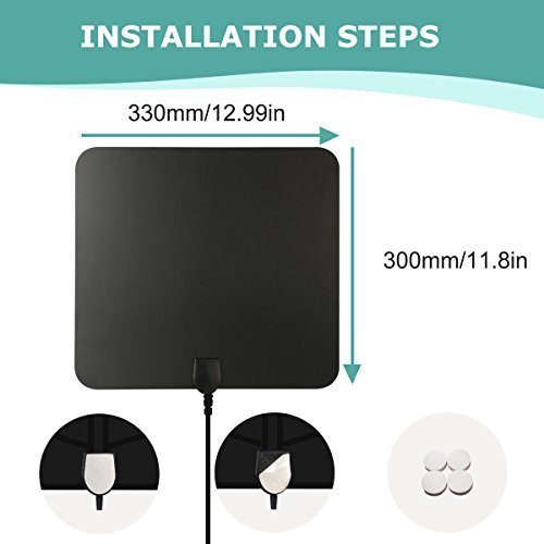 Ifecco Amplified HDTV Indoor Antenna for 1080P High Reception Free TV Support 50 Mile Range with Detachable Amplifier and 10ft Coaxial Cable