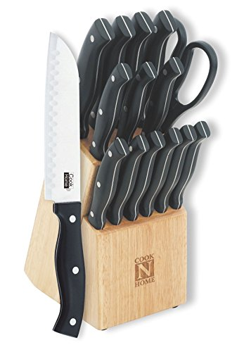 Full Tang Bakelite Handle (Cook N Home 15-Piece Knife Set with Wooden Storage Block, Stainless Steel)