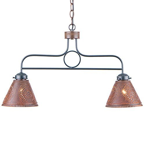 Country Punched Tin (Wrought Iron BAR Light Punched Tin Shades Rustic Country Island Kitchen by Irvin's Country Tinware)