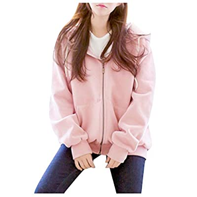 ALOVEMO Women's Long Sleeve Hooded Fleece Sweatshirt Warm Zip Up Hoodie Pullover: Clothing