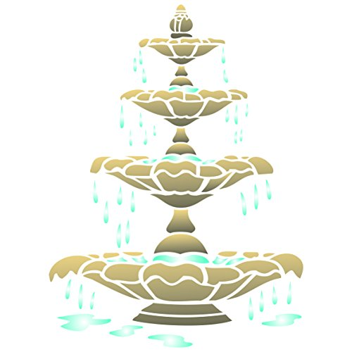 - Fountain Stencil - 14 x 19 inch (L) - Reusable Architectural Outdoor Indoor Wall Stencils for Painting - Use on Paper Projects Walls Floors Fabric Furniture Glass Wood etc.