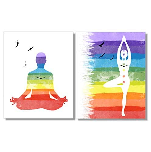 Chakra 8x10 FT Photo Backdrops,Sitting and Meditating Person Rainbow Pattern with Connected Energy Zen Art Print Background for Baby Shower Bridal Wedding Studio Photography Pictures Multicolor