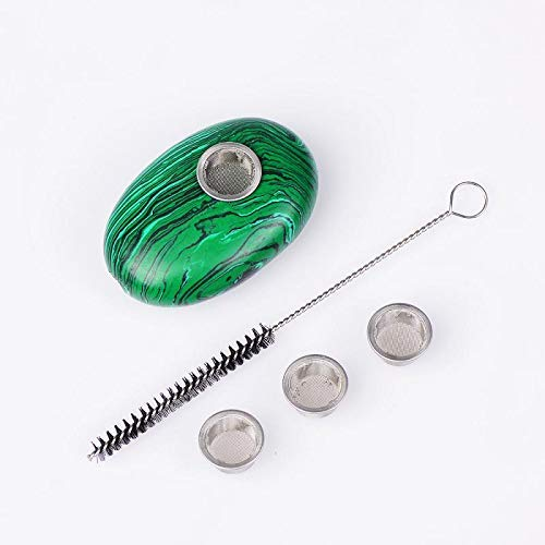ruhong Natural Quartz Healing Crystal Malachite Oval Palm Stone Craft with 3 Metal Filters &1 Brush Wholesale (1.96-2.36Inches)