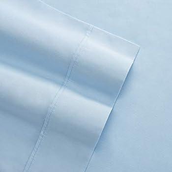Columbia Organic Cotton Sateen Weave Performance Sheet Set - 300TC with Omni-Wick Moisture Wicking Stay Dry Technology - 100% GOTS Certified Organic Cotton - Twin 3-Piece Sheet Set, Blue
