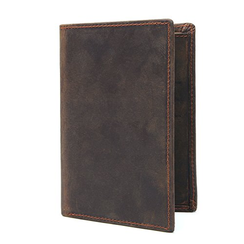 Texbo RFID Blocking Full Grain Cowhide Leather Passport Holder Card Case Travel Wallet (Dark Brown) by Texbo (Image #4)
