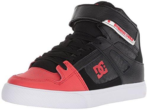 DC Boys' Pure HIGH-TOP EV Skate Shoe, Black/RED, 6 M US Big Kid