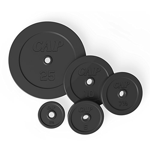 CAP Barbell Rubber Coated Weight Plate, Single, 1 Inch