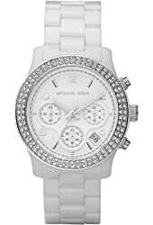 Michael Kors Women's White Ceramic Link Bracelet Quartz Chronograph Crystal MK5188