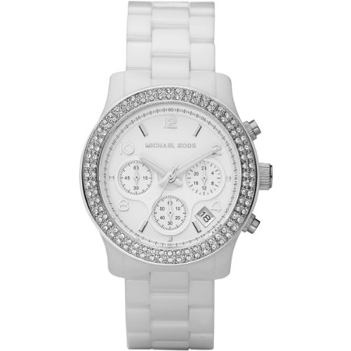 - Women's White Ceramic Link Bracelet Quartz Chronograph Crystal MK5188