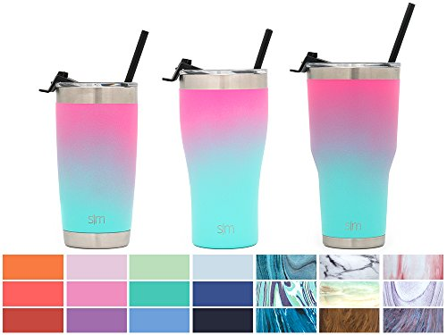 Simple Modern 32oz Slim Cruiser Tumbler with Straw & Closing Lid - Vacuum Insulated Double Wall Cupholder Friendly - Travel Mug 18/8 Stainless Steel Thermos - (Straw Cup Mug)