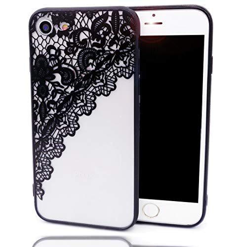 iPhone 8 Case,iPhone 7 Case, Lace Flower Slim Fit Case for Girls Soft Bumper Shockproof Henna Totem Emboss Pattern Hard Matte Back Cover Paisley Datura Design for iPhone 8 7, Floral Black Skirt