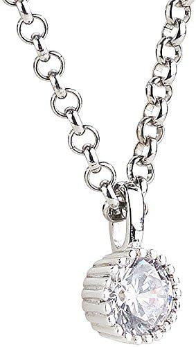 St. Leonhard Zirkonia Kette: Halskette mit rundem Zirkonia Anhänger, rhodiniert, 45 cm (Kette mit Zirkonia Stein)