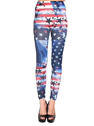 Zando Womens Funky Flag Print Graphic Seamless Ankle Leggings Stretch Yoga Pants American Flag (Katy Perry Crazy Outfit)