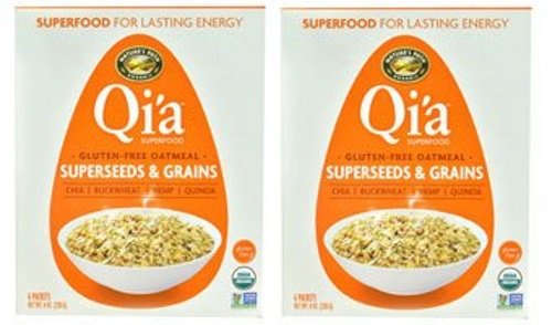 Qia Superfood Organic Hot Oatmeal - Superseeds and Grains - 2 Boxes with 6 Packets Each Box (12 Packets Total)