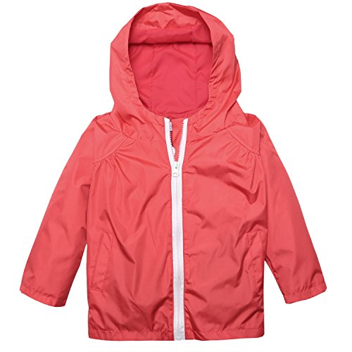 Arshiner Little Kid Waterproof Hooded Coat Jacket Outwear Raincoat,Red,Size 130