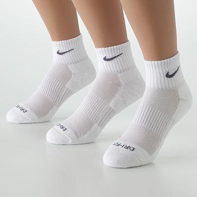 Nike Dri-Fit Quarter Socks (Extra Large), White