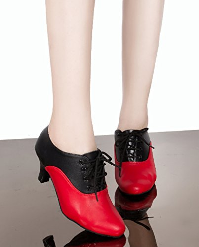 CRC Womens Stylish Closure Toe Lace-up Black/Red Color Block Leatherette Ballroom Morden Salsa Latin Tango Party Wedding Professional Dance Shoes Black/Red qrxkyS5nl
