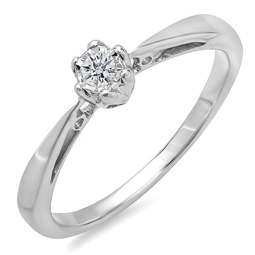 0.07 Carat (ctw) Sterling Silver Round Diamond Ladies Solitaire Bridal Engagement Promise Ring