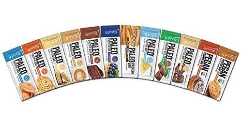 Julian Bakery Paleo Protein Bars Variety Box with Prebiotics Low Net Carb Gluten Free, 12 Flavours, 20 g