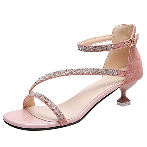 MmNote Women's Fashion Casual Crystal Outdoor Slippers Thin Heels Sandals Shoes Pink