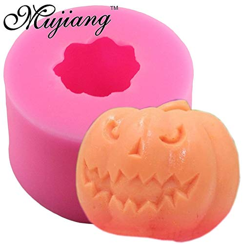 (1 PC 3D Pumpkin Craft Art Soap Silicone Molds Halloween Candle Clay Mold Candy Chocolate Gumpaste Mould Fondant Cake Decorating Tools)