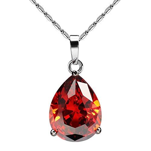 JewelrieShop Super Bling Bling Classic Design Cubic Zirconia CZ Pear Shape Tear Drop Pendant Necklace]()